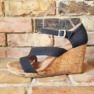 Toms Clarissa Cork Wedge Heels Sandals Women's 10